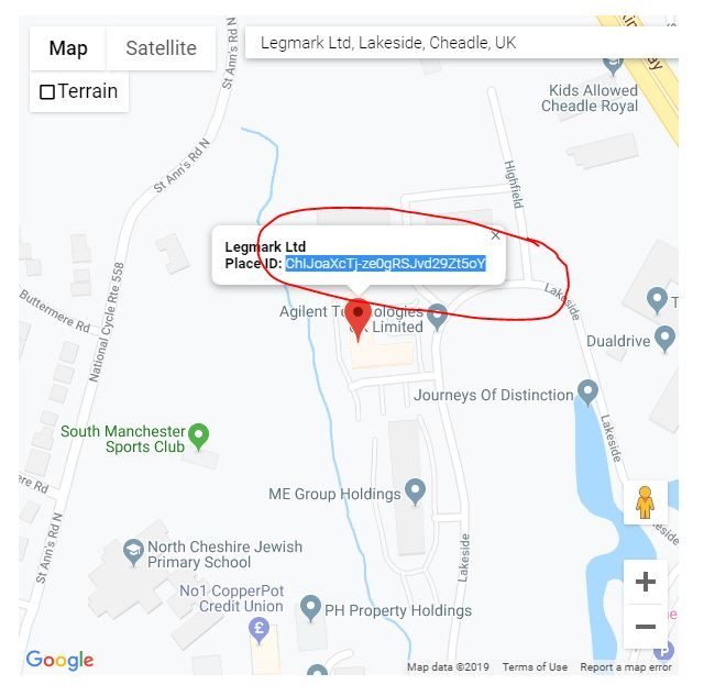 Legmark place ID in Google